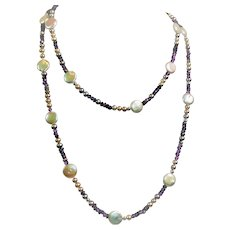 Freshwater cultured pearl and amethyst bead necklace