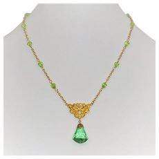 Peridot green Art Nouveau style necklace