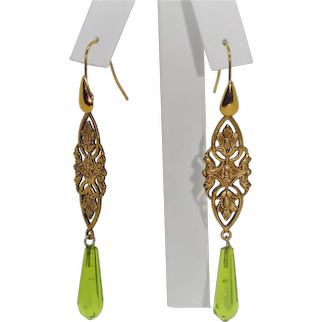 Vintage West German Glass pendant earrings