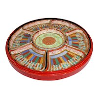 Japanese hand painted lacquer box with Imari china serving dishes