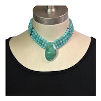 Peruvian Amazonite and Nevada Turquoise collar necklace