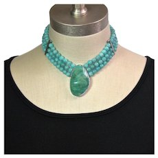 Turquoise and Amazonite collar necklace