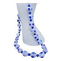 Blue Dot glass bead necklace