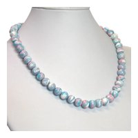 Vintage Cherry Brand pink and blue glass beads