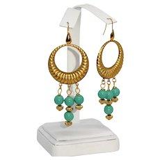 Cherry Brand turquoise blue glass bead earrings