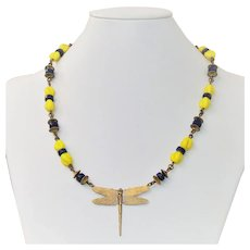 Cherry Brand bead and brass necklace