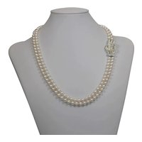 Cultured Freshwater pearl necklace with Art Deco style rhinestone clasp