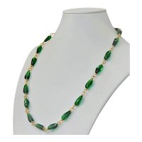 Cherry Brand emerald glass necklace