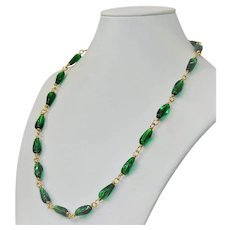 Cherry Brand emerald glass necklace