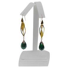 Emerald glass pendant earrings