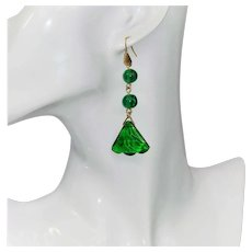 Emerald glass pendant earrings