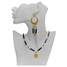 Venetian glass bead necklace and earring set