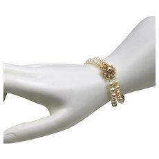 Freshwater cultured pearl bracelet with Rhinestone clasp