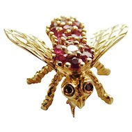 Herbert Rosenthal ruby and diamond bee pin