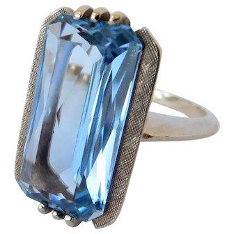 Aquamarine solitaire ring