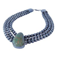 Sterling Silver Navajo Pearls and turquoise necklace, signed Paul Livingston, Native American, Navajo