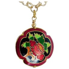 Cloisonne clover puff charm pendent