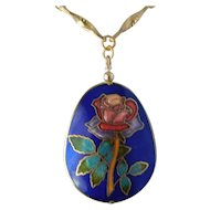 Cloisonne rose charm pendent