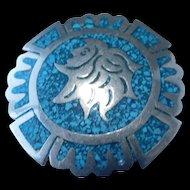 Vintage Mexican silver Aztec brooch/pendent