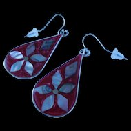 Made in Mexico vintage red enamel and abalone shell earrings