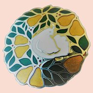 "Cloisonne holiday pin ""Partridge in a pear tree"""