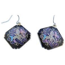 Vintage cloisonne charm earrings