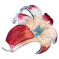 Easter Lilly cloisonne brooch