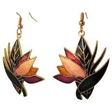 Vintage Bird of Paradise cloisonne earrings