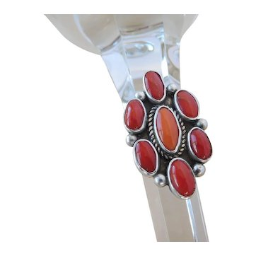 Native American signed Julian Chavez, Zuni , coral cluster ring