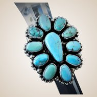 Native American signed Kathleen Livingston Chavez, Navajo, Turquoise cluster ring
