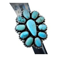 Signed Kathleen Livingston Chavez Native American, Navajo turquoise cluster ring