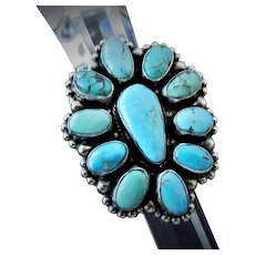 Turquoise cluster ring, Native American, Navajo, signed Kathleen Livingston Chavez
