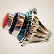 "Native American Mark Yazzie multi stone ""stack"" ring"