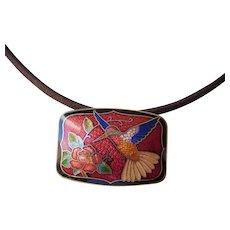 Vintage cloisonne pendant necklace