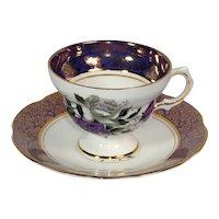 Rosina Fine Bone China teacup and saucer in deep purple