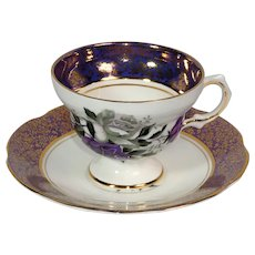 Rosina Fine Bone China teacup and saucer in deep purple