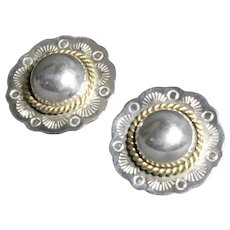 Sterling silver and brass Southwest-style earrings from Mexico