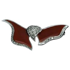 Marcasite sterling silver heart brooch with Carnelian Agate wings