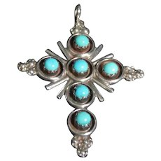 Sterling Silver and American Turquoise cross signed Myra Qualo