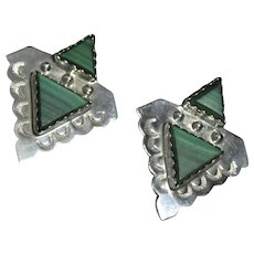 Native American, Navajo, sterling silver and Malachite earrings