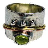 Sterling silver wide band ring set with Peridot gemstone