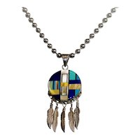 Vintage Zuni stone inlay pendant necklace