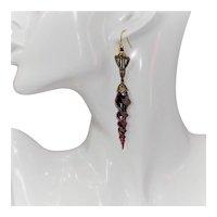 Art Nouveau style venetian glass pendant earrings