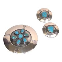 Vintage Alberto Contreras sterling silver and turquoise earring and pin/pendant set