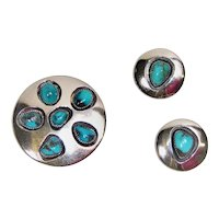 Vintage sterling silver and Turquoise earring and pin set