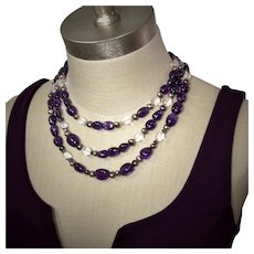 Amethyst and rock crystal triple strand necklace