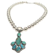 Navajo Manassas Turquoise and sterling silver necklace