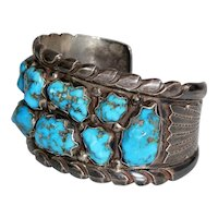 Signed Wayne Calavaza Zuni sterling silver and turquoise cuff bracelet