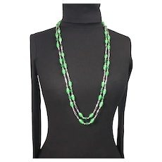 Glass bead continuous strand necklace