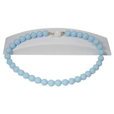 Powder blue glass bead necklace